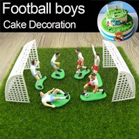 Wholesale Cake Ornament - Football Boys Miniature Figurine Spoart Team Cake Decoration Mini Fairy Garden Party Action Figures Home Ornaments Gift Tns069