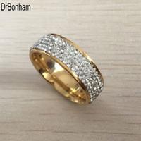 jóia de aço inoxidável eua venda por atacado-Completa 5 Row zircon diamante jóias frete grátis atacado ouro cor aço inoxidável anéis de casamento EUA tamanho 7/8/9/10/11/12