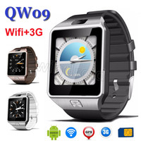 Wholesale Apple Wifi - QW09 3G Smart Watch Phone Android 4.4 MTK6572 Dual Core 512MB RAM 4GB ROM Bluetooth WIFI SmartWatch High Quality VS DZ09 with Retail box