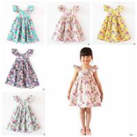 Wholesale Toddler Summer Halter Dresses - Girls Flower Dress Baby Halter Butterfly Sleeves Princess Dress Toddler Beach Printed Dress Knee-Length Sundress Cotton Kid Clothing J439