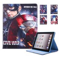 Wholesale Captain America Ipad Cover - Captain America Marvel Comics Cartoon PU Tablet case For Ipad 6 5 air 2 1 Mini 4 Auto sleep wake OPP BAG