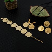 Wholesale golden chain set - 14k yellow real solid Gold GF Coin Jewelry sets Ethiopian portrait Coin set Necklace Pendant Earrings Ring Bracelet Size black rope chain