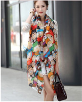 Wholesale Novel Cartoon Scarfs - Wholesale-160*70 2015 New Arrival Scarves Women Novel Cartoon Figure Fashion South Park Print Chiffon Silk Scarfs Woman 's Cape Shawl