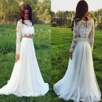 Wholesale Natural Waistline Wedding Dress - Sexy Two Piece Lace Country Wedding Dresses Scoop Neck Long Sleeves Lace Top Beach Wedding Dresses Elastic waistline Tulle Skirt Bridal Gow