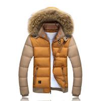 ingrosso cappotto caldo del parka sottile-All'ingrosso-Uomini inverno cotone cappotti con cappuccio neve calda spessa Chaqueta Homme Brand Design moda casual Slim Fit Down Parkas SL-E429