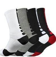 uzun çorap erkek toptan satış-Elite Basketbol Çorap Kalın Terry Havlu Alt Futbol Spor Ekip Çorap Diz Yüksek Atletik Erkekler Çorap Meme Kanseri uzun Çorap