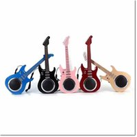 Wholesale Wireless Interface Cards - DHL free beauty design guitar speaker earphone stereo bluetooth wireless speaker with usb sd card interface for samsung iphone smart phone