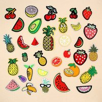 Wholesale Cute Sticker Dress - Cute Fruits Patches Iron On Embroidered Appliques Badge Stickers Patch For Clothes Shirt Dress Jean Trousers Jacket Clothing DIY Sewing