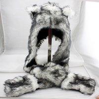Wholesale Long Wolf Hat - Wolf Stuffed Animal Hood Hoodie Hat Faux Fur 3 in 1 Function White Fuzzy Ear LONG Flap