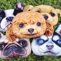 casos de perro 3d al por mayor-50 * 50 cm doge almohadas decorativas y estuches para sofá y coche creativo decoración del hogar cojín de peluche con forma de cabeza de perro emoji, impreso en 3D