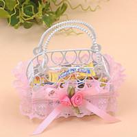 Wholesale gift baskets weddings - Romantic Bridal Wedding Party Creative Personality Iron Basket Candy Boxes Lace Handbag Shape Sugar Gift Boxes ZA3728