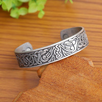 Wholesale Silver Bird Bangle Cuff - Stainless Steel Health Care Magnet Bangle Ancient Birds Engraved European Knots Pattern Bracelet Half Open Adjustable Cuff Wristbands