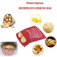 Wholesale Fast Cooker - Microwave Potato Bags Cooker Bag Baked Potato Washable Reusable Kitchen Tool Baking Bag Cooking Quick Fast Red
