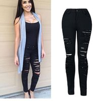 Wholesale Sexy Ripped Jeans - Wholesale- Women Jeans Skinny Pencil Hole Pants Ripped Denim Black Sexy Bottom Female Slim Trousers Summer Leggins Cotton High Elastic XXL