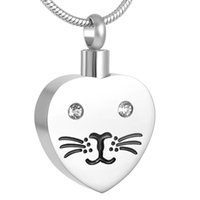 Wholesale Cat Face Necklace - IJD8425 Lovely cat face 316l stainless steel charms memorial cremation jewelry for pet ashes urn pendants