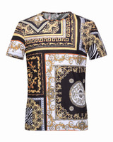 Wholesale Slim Fit Camisas - New Arrival Strip Gold and Black Luxury Brand T shirt For Men Slim Fit Baroque Mens Tee Shirt Social Royal Camisas