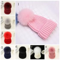 Quality Removable Real Mink Fox Fur Pom Poms Ball Bonnets acryliques Winter Warm Plain Hats Adultes Enfants Enfants Slouchy Mens Womens YYA529