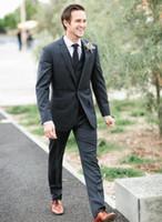 Wholesale Groom Suit Grey - Custom Made Groom Tuxedos Dark Grey Best Man Groomsman Notch Lapel Men Wedding Dinner Prom Suits Bridegroom(Jacket+Pants+Vest)