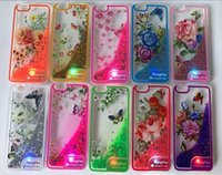 Wholesale Iphone Flower Bling - For Iphone 7 7Plus Samsung S8 S8 plus J3 Emerge Peng Hai flower LED Bling Transparent TPU Water Glitter Case for LG stylo 3 ZTE Z MAX PRO