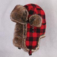 Wholesale Fur Ushanka - Wholesale- Winter Trapper Bomber Hat Male Faux Rabbit Fur Russain Ushanka Warm Earflap tAviator Trooper Snow Cap Vintage Plaid Cycling Hats