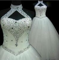 cheap wedding dresses großhandel-Günstige Strand Halter Sexy Perlen A Line Tüll Plus Size Brautkleider Lange Hochzeit Gast Kleider Trauzeugin Kleid