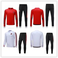 Wholesale Sweater Men Xl - Top quality 2017 2018 AC Milan Soccer training suit sweatshirt kit survetement 17 18 AC Milan Sweater Tracksuit Set Soccer Training Suit