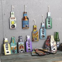 Wholesale Draw Bar - Wooden vintage hand drawing beer cola painting wooden bottle openers hang for restaurant bar shop home decorations