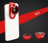 Wholesale Iphone5 Fish Eye - 4 in 1 Clip Fish Eye Lens Wide Angle Macro Mobile Phone Lens For iPhone5 6 6 6s Plus Samsung All Phones