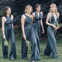black pearls spandex - 2016 Cheap Custom Convertible Dress Bridesmaids Dresses Sexy Mix Necklines Gray Open Back Spandex Plus Size Bridesmaid Pants Fast Shipping