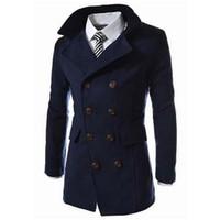 abrigos de guisante de moda para los hombres al por mayor-Venta al por mayor- 2016 hombres de moda otoño abrigo de invierno Turn-down cuello mezcla de lana hombres Pea Coat doble pecho abrigo de invierno MWN113