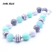 Wholesale Mint Acrylic - MHS.SUN Newest Design Mint Grey Baby Kid Chunky Necklace Fashion Toddlers Girls Bubblegum Bead Chunky Necklace Jewelry Gift For Children