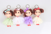 Wholesale Colors Cute Girl Resin Princess Doll Key Chain Car Key Ring Pendant Pendant Keychain