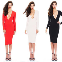 Wholesale women s winter dress tights - Autumn And Winter Long Sleeves Casual Dresses Sexy V-Neck Dress Tight Pack Hip Dress Fashion Women 2017