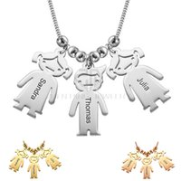Wholesale Old Jewelry - Mom Jewelry - Mother's Necklace with Engraved Children Charms Personalized Nameplate Pendant Old English style Name Jewelry
