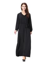 Wholesale Milk Silk Dress - TH907 2017 new fashion milk silk stitching big swing Dubai robes Muslim Arab Middle East Turkey ladies women maxi dresses plus size m-xl