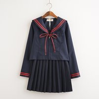 Wholesale Navy Dress Uniform - Malidaike Anime Sailor Suit Cardigan Pleated Skirt Japanese Cute Dress Student Clothes Orthodox JK Uniform College Navy Style Cosplay Costum