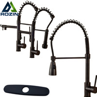 Wholesale Kitchen Faucet Bronze - Wholesale- Luxury Single Lever Black Swivel Spout Kitchen Sink Mixers Deck Mounted Spring Pull Down Kitchen Faucet Taps