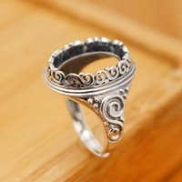 Wholesale Vintage Retro Ring Silver - Art Nouveau Vintage 11X14mm Oval Cabochon Semi Mount Ring 925 Sterling Silver Fine Silver Retro Jewelry Setting