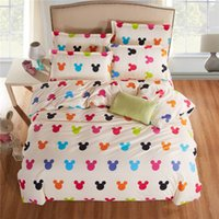 Wholesale Cotton Printed King Size Sheets - Wholesale- New fashion bedding set mickey and minnie Totoro Twin Full Queen King size duvet cover bed sheet pillowcase bed linen flat sheet