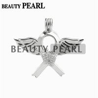 Barato Pendente De Asa 925-5 Peças Angel Wing Footprint Ribbon Cage Locket Love Wish Pearl Gift 925 Sterling Silver Pearl Cage Pendant