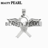 Wholesale Footprints Pendant - 4 Pieces Angel Wing Footprint Ribbon Cage Locket Love Wish Pearl Gift 925 Sterling Silver Pearl Cage Pendant