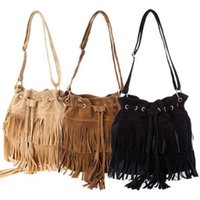 New Style Mulheres Fringe Retro Tassel Drawstring Shoulder Bag Crossbody Bag Messenger Messenger Vintage 3 cores