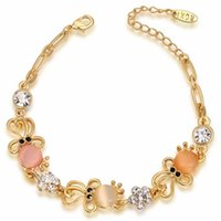 Wholesale Peach Bead Set - Women's Charm Chain Bracelet Classic Rose Gold Opal Crystal Link Bracelet Hand Zircon Peach Beads Bracelet Jewelry Two Color 2060018540