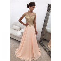 Wholesale Elegant Dresses Long Short - pink prom evening bridesmaid dress 2017 sexy long elegant gold lace evening gowns with short sleeves