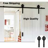 5/6/8/10/12/13 / 16FT Aço Carbono Rustic Black Wheel Único Double Sliding Barn Madeira Porta Hardware Closet Roller Track Kit