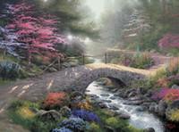 Wholesale Bridge Life - Bridge Of Faith Thomas Kinkade Oil Paintings Art Wall Modern HD Print On Canvas Decoration No Frame