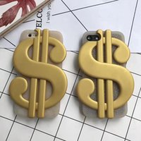 Wholesale Dollar Iphone Case - Fashion 3D US Dollar Soft Silicone Case For Iphone 7 Plus 6 6S 6Plus SE 5 5S Cool Bill Money US Coins Gold Glitter Bling Cover Skin+Strap