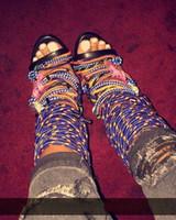 sandales à talons hauts zip achat en gros de-2017 été nouvelle croix multicolore attaché sandales à talons hauts talon aiguille coloré lacer la fermeture chaussures de soirée plus la taille