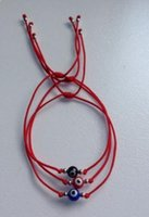 Wholesale Eye Protection Bracelets - Nylon Evil Eye Red String Kabbalah Bracelet Bead Good Luck Charm Protection Cuff Bracelets Bangle Jewelry Gift Punk Accessories HOT 20Pcs