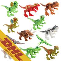 Wholesale Build Dinosaur - 360pcs Jurassic World Dinosaur Minifig Tyrannosaurus Pterosaur Horned Dinosaur Jurassic World Dinosaurs Figures Building Block Figure Toys
